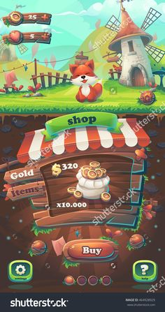 Feed The Fox Gui Match 3 Shop Window - Cartoon Stylized Vector Illustration Mobile Format With Options Buttons, Game Items. -…