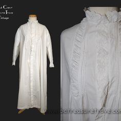 Antique Original Victorian White Cotton Nightgown with Broderie Anglaise Civil War Era - Mid 19th Century