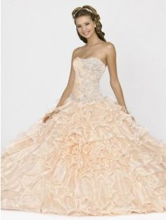 Ball Gown Strapless Sleeveless Beading Floor-length Organza Quinceanera Dresses