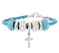 ☆Stainless Steel Leather Bracelet with Cross and Crystal Beads