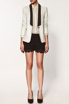 Zara Blazer with Tuxedo Collar. A masculine touch to an other wise very feminine outfit.