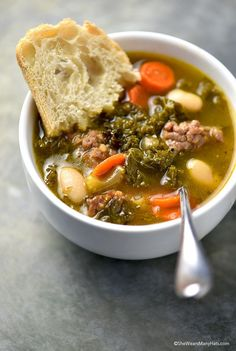 Kale, Sausage and White Bean Soup Recipe Kale, Sausage and White Bean Soup is the perfect savory dish to fill you up and warm you up on a chilly night. | shewearsmanyhats.com #bushsbeans @BUSHSbeans #ad