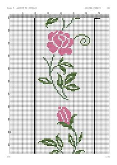 Cross Stitch Borders, Cross Stitch Designs, Cross Stitch Patterns, Border Design, Embroidery Patterns, Diy And Crafts, Flowers, Xmas Cross Stitch, Cross Stitch Art