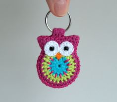Crochet owl keychain, cute animal keyring handmade in pink green and turquoise cotton yarn, crocheted owl accessories : Items similar to crochet owl keychain, owl keyring, pink crochet owl keychain on Etsy Crochet Owls, Crochet Amigurumi, Crochet Gifts, Cute Crochet, Crochet Butterfly, Cotton Crochet, Crochet Keychain Pattern, Crochet Bookmarks, Yarn Projects