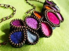 Jewel tone felted zipper jewelry