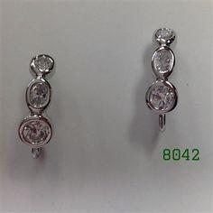 """Silver 3 Bezel Clear CZ Post Earrings 3/4"""" long"""