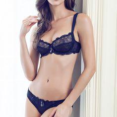 b7e8c66e864 Female Sexy Lingerie Underwear Resistant Floral Lace Bra Set Adjustment Sexy  Transparent Bra And Panty Sets Vs Women Bra Set - Viver Moda