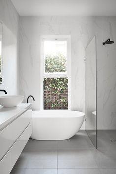 Minimalist Bathroom 282741682842934955 - Archive Of Caulfield House In Melbourne By Pleysier Perkins Source by meganpgray Bathroom Renos, Bathroom Renovations, Master Bathroom, Home Remodeling, Bathroom Ideas, Small Bathroom With Bath, Bathroom Cabinets, Small Baths, Bathroom Bin