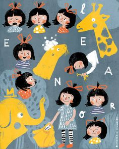 These are Eleanors emotions, she really REALLY wants a Pet. 😊😕😠😞😂My piece for the second assignment for the class . People Illustration, Children's Book Illustration, Character Illustration, Digital Illustration, Kid Character, Character Design, Simple Character, Drawing Cartoon Faces, Comic Layout