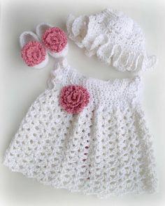 Recién nacido bebé vestido de niña de algodón, zapatos y sombrero en blanco y rosa