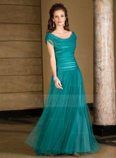 A-Line/Princess Cowl Neck Floor-Length Tulle Charmeuse Mother of the Bride Dress With Ruffle Beading (0085059438) - Vbridal