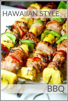 hawaiian food recipes This sweet pineapple and pork combination is perfect for easy entertaining or a simple weeknight meal. Kabob Recipes, Grilling Recipes, Pork Recipes, Cooking Recipes, Cuban Recipes, Pork Skewers, Shish Kabobs, Pineapple Recipes, Gourmet