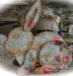 DIY..Adorable  Decoupage Easter Bunny.  Decor !  With Free Bunny Template ! Cardboard Easter Bunny