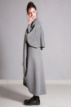 Grey Cape Coat Oversized Fleece Coat Cape Jacket by dragonflyhm