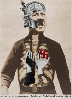 Adolf Hitler Swallows Gold and Shits Tin, Variation, 1932 Tristan Tzara, Photomontage, John Heartfield, Dada Collage, Collage Artists, Hannah Hoch, Hans Richter, Francis Picabia, Collages