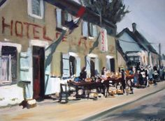 Brocante in Moulin Engilbert France 36 x Impressionist, Street View, France, Painting, Art, Kunst, Novelty Signs, Craft Art, Painting Art