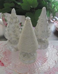 Shabby SET of 3 DECORATED w PEARLS Chic Small Ivory CHRISTMAS TREES or ORNAMENTS #Unbranded