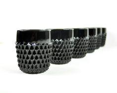 Vintage Black Diamond Point Tumblers set of 6.  #glassware #tableware #vintage