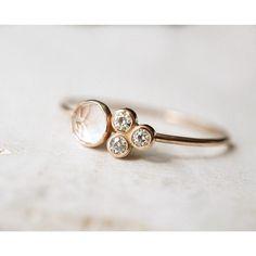 Rose Quartz Cluster Ring in 14 Gold