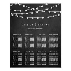 The String Lights On Chalkboard Wedding Collection Poster