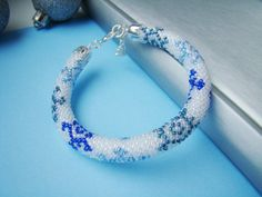 Bead Crochet Bracelet Snowstorm Colored bracelet by MonistoJewelry