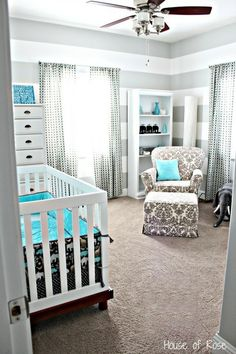 Grey and Blue Elephant Nursery or  instead of the crib a bed for a guest room