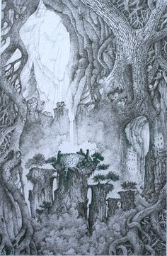The Roots of the World Tree Visionary Art, Fantastic Art, Roots, Ink, Canvas, Drawings, Artwork, Artist, Painting
