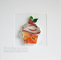 Quilling Paper Wall Art - This cupcake (with cherry jam) is a key to good mood :) This wall art is my own creation, I made it in a technique graphic quilling. It is entirely handmade, using only cardboard. I cut paper strips by hand. This beautiful design can grace any room or