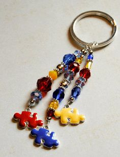 Autism Awareness Keychain with Sparkly Beads and por AutismLoveHope