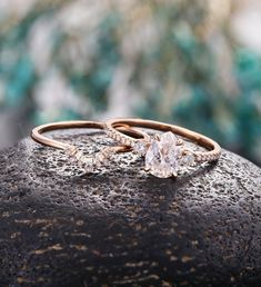 Pear cut Moissanite engagement ring vintage Half eternity Wedding ring set women antique promise ring set Anniversary ring stacking rings Vintage Engagement Rings, Vintage Rings, Pear Shaped Engagement Rings, Morganite Engagement Ring Pear, Diamond Wedding Rings, Rose Gold Ring Set, Vintage Diamond, Anniversary Rings, Promise Rings