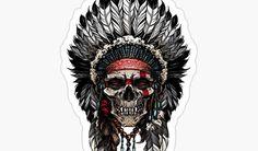 Indian Skull Tattoo Design: Native American Powerful Design Skull Tattoo Design, Skull Design, Tattoo Designs, Indian Skull Tattoos, Types Of Feathers, Gold Teeth, Feather Headdress, Custom Tattoo, Tattoos With Meaning