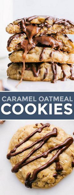 Homemade caramel oatmeal cookies with a gooey chocolate & caramel filling. These cookies are finished with a chocolate drizzle on top! Delicious Cookie Recipes, Easy Cookie Recipes, Yummy Cookies, Baking Recipes, Dessert Recipes, Homemade Cookies, Sugar Cookies, Best Chocolate Desserts, Chocolate Oatmeal Cookies