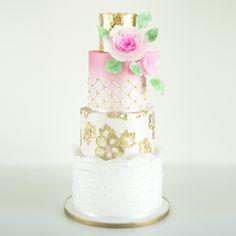 Gold Brush Embroidery And Omdre Wedding Cake