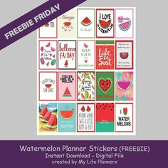 "Happy Friday! This week's feature is a summer treat so sweet that you'll have to seed it out. I hope you enjoy these Watermelon Planner Quote Stickers. The stickers will fit most planners but are the standard size of EC at 1.5"" x 1.9"" and HP at 1.5"" x 2.25"". To download the Erin Condren sizedRead More"