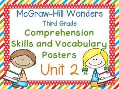 Third Grade McGraw-Hill Wonders Comprehension and Vocabulary Posters-Unit 2 3rd Grade Classroom, Classroom Posters, Classroom Ideas, Teaching Rules, Teaching Resources, Comprehension Posters, Authors Point Of View, Mcgraw Hill Wonders, Vocabulary Strategies