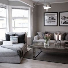 How they configured the ceiling of the bay window is interesting Living room grey Home living room Living room modern