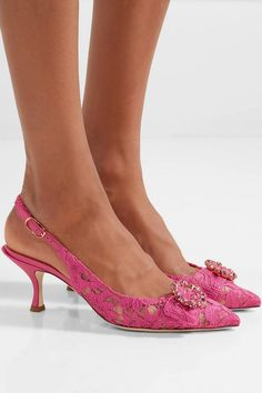 7b8f00a52a3 Heel measures approximately inches Pink corded lace and satin  Buckle-fastening slingback strap Made in Italy