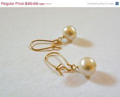 HOLIDAY SALE Pearl Earrings    14 K Gold by ScorpionMoonDesigns, $25.50
