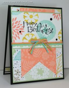 SALE-A-BRATION card featuring Stampin' Up! Petal Parade stamp set as well as Sweet Sorbet designer series paper #StampinUp