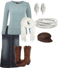 """""""Blue and Silver"""" by littleblotsofink on Polyvore This would be perfect with a denim skirt that's not faded."""