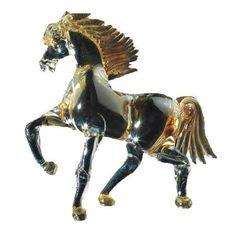 Cavallo al trotto in vetro di Murano interamente realizzato a mano, color Cristallo/Oro 24 carati.