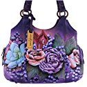 Anuschka Hand Painted Genuine Leather Triple Compartment Medium Satchel (Lush)