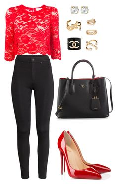"""""""617"""" by julialeskiv ❤ liked on Polyvore featuring Candela, H&M, Forever 21, Christian Louboutin, Prada, Chanel, Yves Saint Laurent and Kate Spade"""