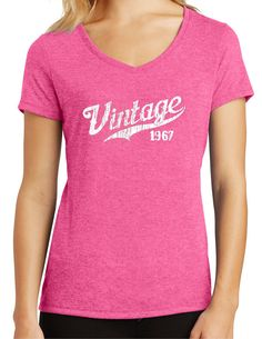 Womens Tri Blend Vintage T Shirt 1967 Born In Birthday Gift For Her Mom