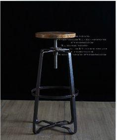 鍛造鉄アメリカ レ トロ バー スツール椅子リフト ハイ チェア高