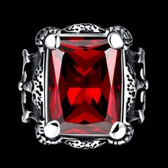 Classic accessories 925 sterling silver rings, ancient Maya fashion punk wind square inlaid red zircon men's ring R233 #Punk fashion http://www.ku-ki-shop.com/shop/punk-fashion/classic-accessories-925-sterling-silver-rings-ancient-maya-fashion-punk-wind-square-inlaid-red-zircon-men-s-ring-r233/