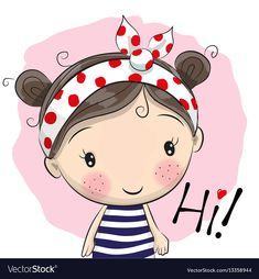 Cute cartoon girl vector image on VectorStock Cartoon Cartoon, Cute Cartoon Girl, Cartoon Drawings, Cute Drawings, Cartoon Girl Images, Cute Images, Cute Pictures, Wallpaper Do Mickey Mouse, Buddha Doodle