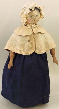 21 Inch Childhood wooden Peg Doll of Anne Eliza Crumpstone, Hanna born in 1827.