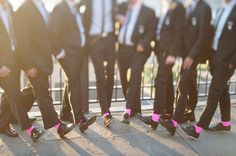 hot pink groomsmen's socks....haha for that Bride that is obsessed with pink and PINK OUT for ZTA philanthropy!! <3