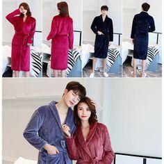 Women Men s Soft Long Sleepwear Robes Shawl Collar Fleece Bathrobe Spa  Pajamas K  Bathrobe   505457151